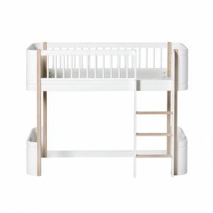 Wood Mini+ halbhohes Hochbett weiß/Eiche