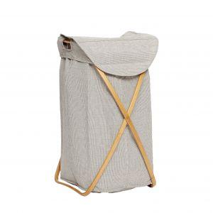 Wäschekorb aus Stoff und Bamubs - grau, HÜBSCH