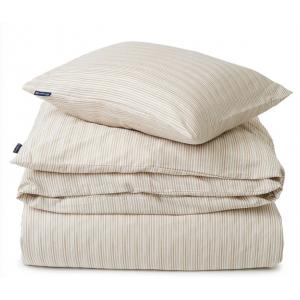 Beige Striped Organic Cotton Sateen Bed Set
