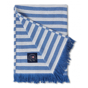 Striped Recycled Cotton Throw, Blue/White