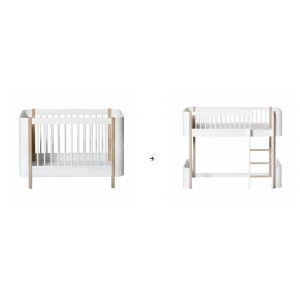 Mini+ Basic zum halbhohen Hochbett, weiß/Eiche
