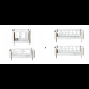 Mini+ Basic und Geschwisterset zu 2 Juniorbetten, weiß/Eiche