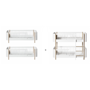 Mini+ 2 Juniorbetten zum halbhohen Etagenbett, weiß/Eiche