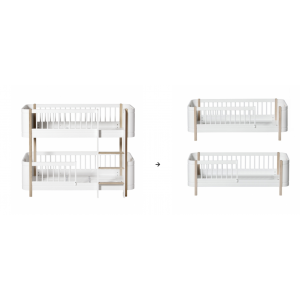 Mini+ halbhohes Etagenbett zu 2 Juniorbetten, weiß/Eiche