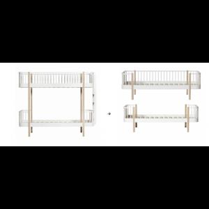 Original Etagenbett Leiter/Kopfteil zu 1 Einzelbett und 1 Bettsofa, weiß/Eiche