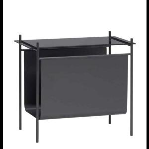 Tisch m Magazinhalter schwarz Metall/Glas