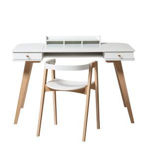 Wood Schreibtisch 66 cm & Armlehnstuhl, weiss/Eiche