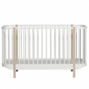 Wood Baby- und Kinderbett, Eiche und weiss